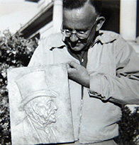 Huff with the Moore plaque
