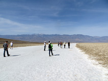 Walking across the salt pan at Badwater