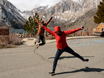 Renske and Lucy jump (for joy?) at Convict Lake