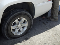 The flat tire we acquired outside Beatty, Nevada