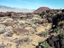 The volcanic landscape at Fossil Falls