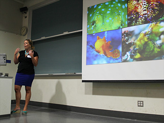 Lindsey Dougherty presents her talk on 'disco clams'