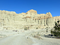 The eroded cliffs on the south side of the campground
