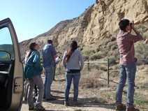 Stopping at an outcrop of the Santa Margarita Formation