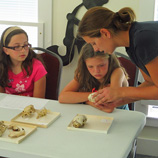Allison Stegner taught children about mamml teeth at a local library in her home town in Vermont