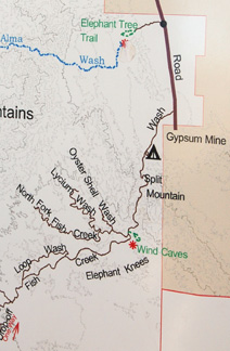 Section of visitor center map showing Fish Creek Wash