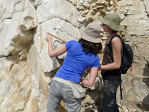 Camilla and Caitlin measure a section