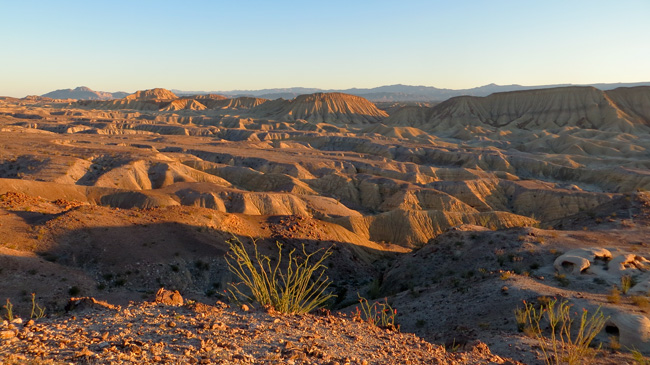 The Mud Hills and Elephant Knees Buttes at sunset