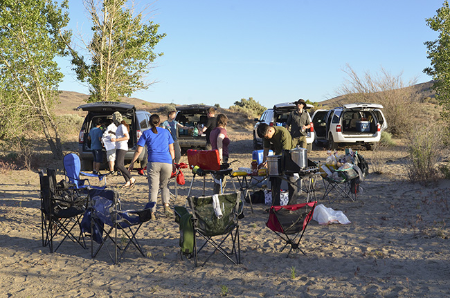 Setting up camp and preparing dinner at Lake Lahontan State Recreation Area.
