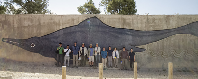 Our group in front of William Gordon Huff's ichthyosaur relief at Berlin-Ichthyosaur State Park.