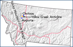 Map of Montana with the area containing the Willow Creek Anticline in orange