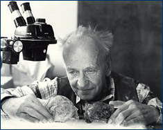 Karl Hirsch in 1988 studying 140-million-year-old dinosaur eggs