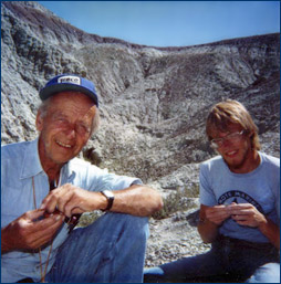Karl with a Denver Museum of Nature and Science crew in the Wind River Formation of Wyoming, 1986