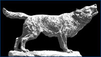 One of Huff's dire wolf sculptures
