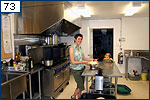 Stephanie Stuart and Emma Thompson in the Sagehen kitchen