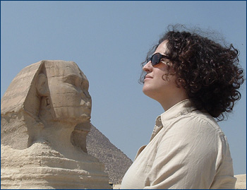 Lorraine doing her best Sphinx imitation, Giza, Egypt