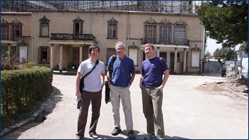 Greg, Mark, and Randy outside the National Museum in Addis Ababa