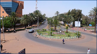 The main square of Bahir Dar is surrounded by palm trees