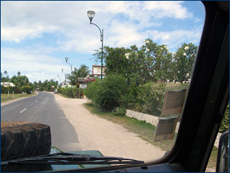 A view from the passenger seat of the station's Land Rover