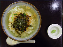 Jann's dinner of ocha-zuke, a green tea and rice soup