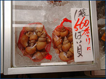 Bags of buccinids on sale at the Joetsu market