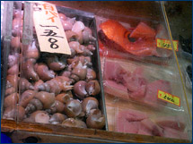 Whelks and other seafood found at the Tsukiji fish market