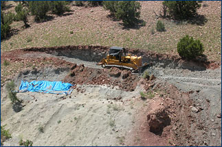 Virgil Trujillo hard at work removing overburden with the Ghost Ranch