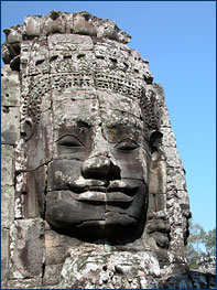 A carved face at Angkor Wat