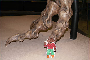 At the feet of the T. rex