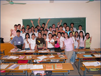 An English class at Vinh University in central Vietnam