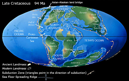 Continental distribution in the Late Cretaceous