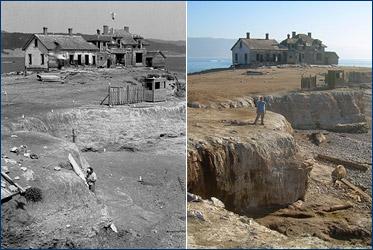 Excavation of the baleen whale in 1986 and how the site looks today