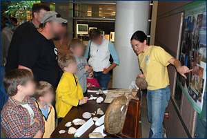 Erin Meyer educates a Cal Day crowd about the biology, geology, and paleontology of the Baja peninsula.