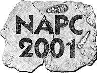 The logo for the 2001 North American Paleontology Convention, hosted by UCMP
