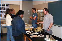 Nick Pyenson and Randy Irmis talk to Cal Day visitors about the wealth of fossils excavated at Sharktooth Hill