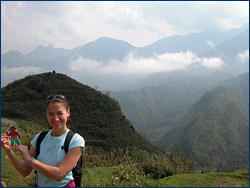 Flat Stanley with Jennifer Skene in the mountains near Sapa, northern Vietnam