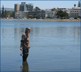 Dawn Peterson samples the microfauna in Lake Merritt