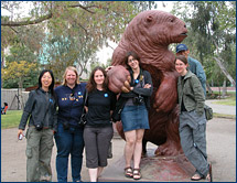 The group befriends a giant ground sloth at the La Brea Tar Pits