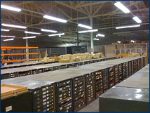 Cases and cases of invertebrate fossils from the USGS are now easily accessible in the new storage facility