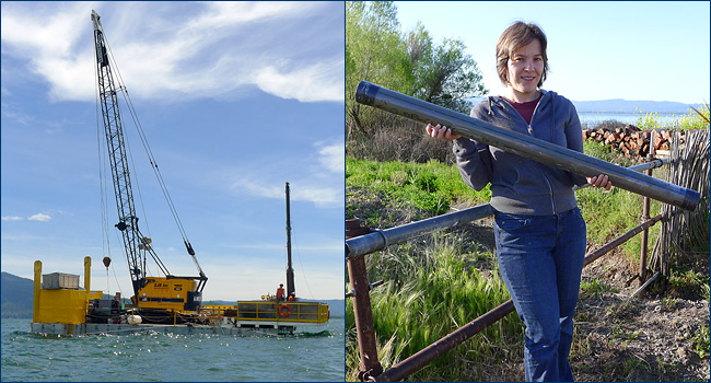 The drilling barge on Clear Lake and paleobotanist Cindy Looy shows off one of the drill cores