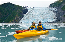 Judy and Sue kayaking at Coxe Glacier, AK