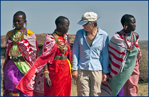 Judy with Masai women in Kenya