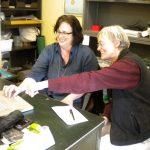 Susan Tremblay (left) and paleobotanist Carol Hotton (right) talking liverworts
