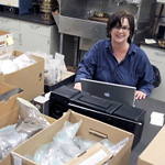 Susan with boxes of matrix