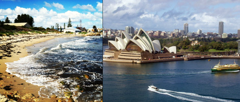 Freemantle Beach and Sydney Opera House