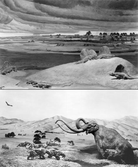 Permian and Pleistocene dioramas