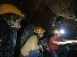 Marianne Brasil, Leslea Hlusko and Dominic Stratford underground in Sterkfontein Cave, South Africa. Photo by Tesla Monson