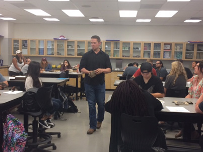 UCMP graduate student Larry Taylor teaching at Los Medanos Community College. Photo courtesy of Briana McCarthy.