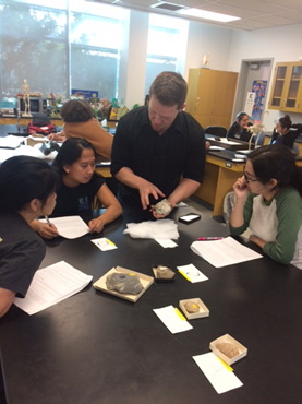 Students appreciated working directly with the fossils. Photo courtesy of Briana McCarthy.