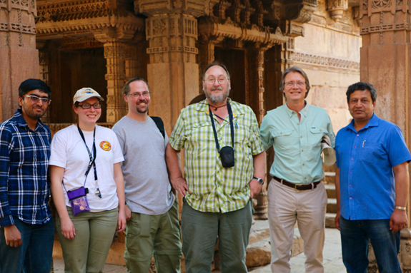 Researchers Tushar Mittal, Courtney Sprain, Loÿc Vanderkluyson, Paul Renne, me (Mark Richards), and Kanchan Pande visiting a step well near our field site in Ahmedabad, Gujarat State, India. The carved stones behind us are not Deccan basalts, but they are very impressive!
